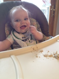 Eating oatmeal!
